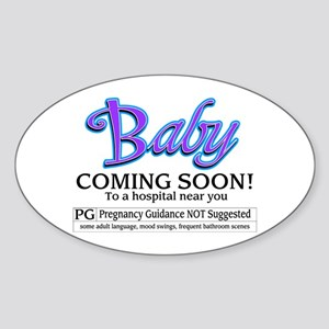 Baby - Coming Soon! Oval Sticker