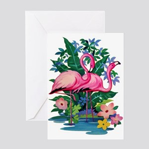 RETRO FLAMINGO Greeting Card