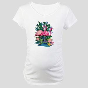 RETRO FLAMINGO Maternity T-Shirt