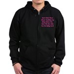 Don't Touch The Belly! (pink) Zip Hoodie (dark)
