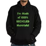 Made of 100% Recycled (green) Hoodie (dark)