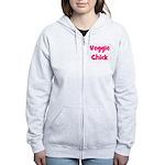 Veggie Chick Pink Women's Zip Hoodie