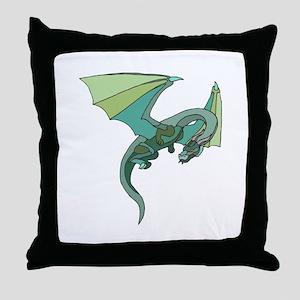 Cool Flying Green Dragon Throw Pillow