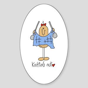 Knitting Nut Sticker (Oval)