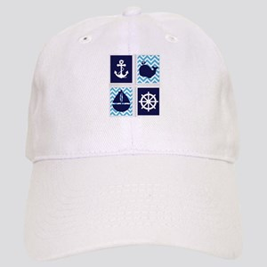 e1a314c4b9b NAUTICAL IMAGES ON BLUE CHEVRON Baseball Cap