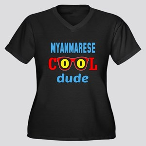 Myanmarese C Women's Plus Size V-Neck Dark T-Shirt