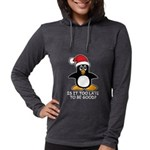 Cute Christmas Penguin Is it t Womens Hooded Shirt