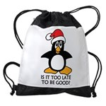 Cute Christmas Penguin Is it too la Drawstring Bag