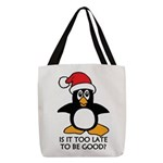 Cute Christmas Penguin Is it to Polyester Tote Bag