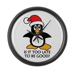 Cute Christmas Penguin Is it too Large Wall Clock