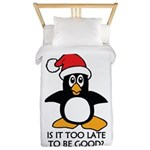 Cute Christmas Penguin Is it too Twin Duvet Cover
