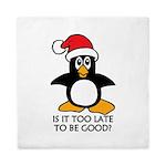 Cute Christmas Penguin Is it too late Queen Duvet