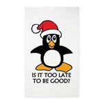 Cute Christmas Penguin Is it too late to Area Rug