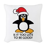 Cute Christmas Penguin Is it t Woven Throw Pillow