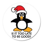Cute Christmas Penguin Is it too Round Car Magnet