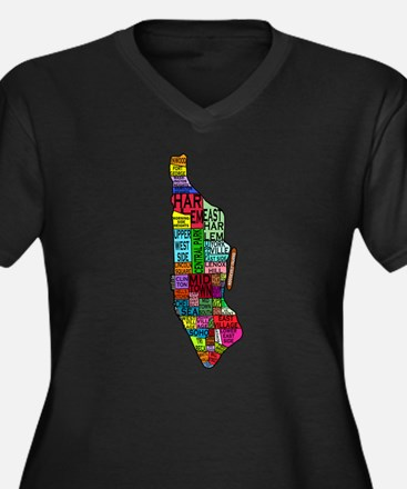 NYC Color Coded Map Women's Plus Size V-Neck Dark