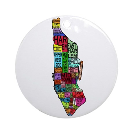 NYC Color Coded Map Ornament (Round)