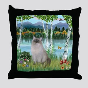 Birches / Ragdoll Throw Pillow