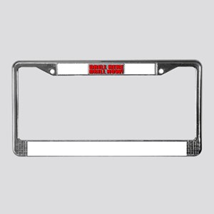 Drill Here License Plate Frame