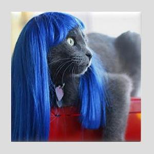 Wig Cat Tile Coaster