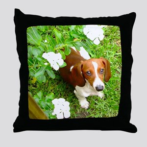 Doxie Flowers Throw Pillow