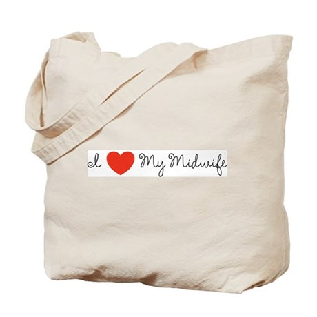 I heart my midwife-long ways Tote Bag