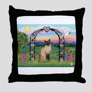 Rose Arbor / Siamese Throw Pillow