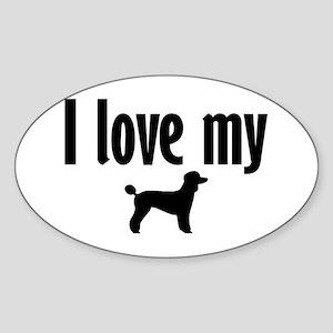Love My Poodle (Large) Oval Sticker