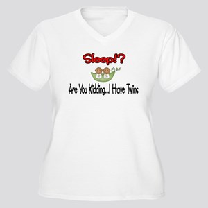 Sleep!? I have Twins Women's Plus Size V-Neck T-Sh