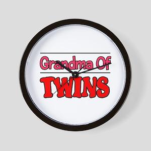 Grandma Of Twins Wall Clock