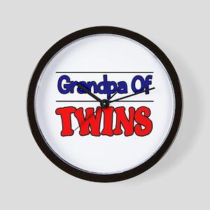 Grandpa Of Twins Wall Clock