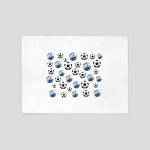 Argentina Soccer Balls 5'x7'Area Rug
