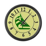 Green Sailboat Large Numbers Large Wall Clock
