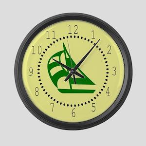 Green Sailboat Large Wall Clock