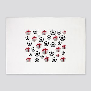 England Soccer Balls 5'x7'Area Rug