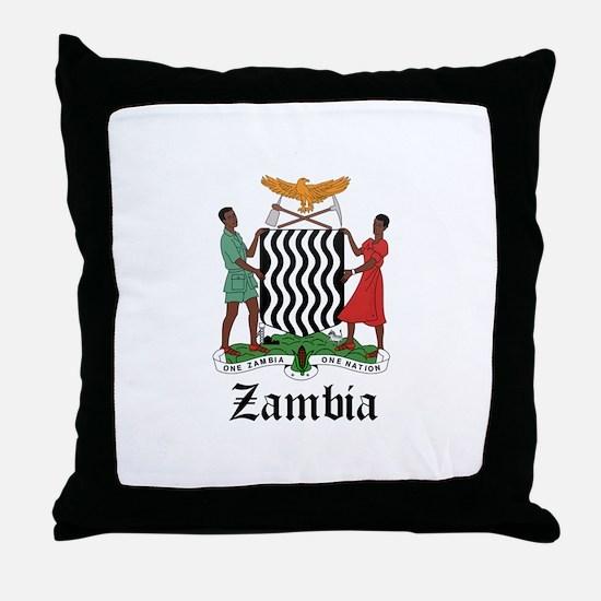 Zambian Coat of Arms Seal Throw Pillow