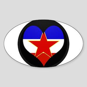 I love Yugoslavia Flag Oval Sticker