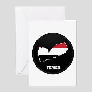 Flag Map of yemen Greeting Card