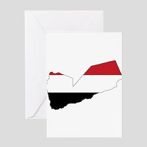 yemen Flag Map Greeting Card