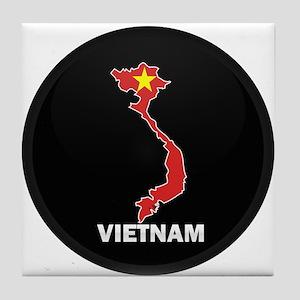 Flag Map of Vietnam Tile Coaster