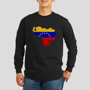 Venezuela Flag Map Long Sleeve Dark T-Shirt