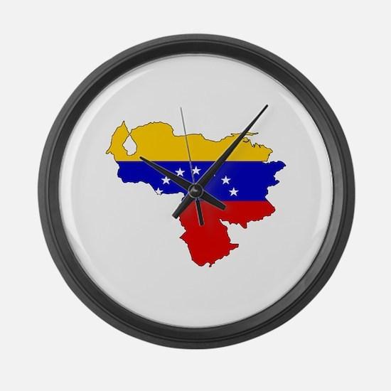 Venezuela Flag Map Large Wall Clock