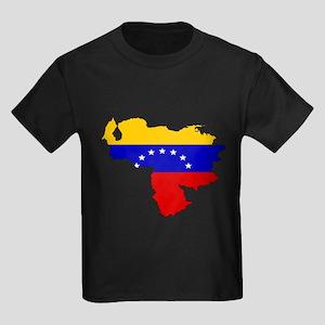 Venezuela Flag Map Kids Dark T-Shirt