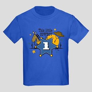 Little Cowboy 1st Birthday Kids Dark T-Shirt