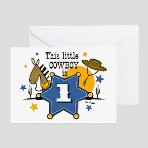 Little Cowboy 1st Birthday Greeting Card