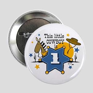 """Little Cowboy 1st Birthday 2.25"""" Button"""