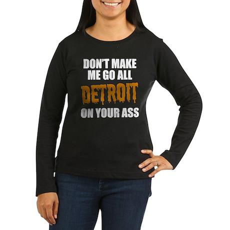 Detroit Baseball Women's Long Sleeve Dark T-Shirt