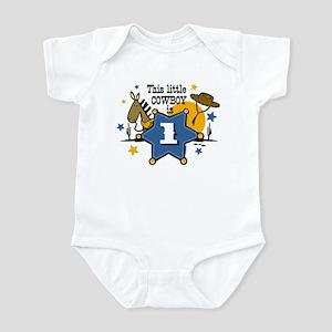 Little Cowboy 1st Birthday Baby Light Bodysuit