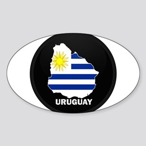 Flag Map of Uruguay Oval Sticker
