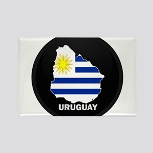 Flag Map of Uruguay Rectangle Magnet